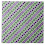 [ Thumbnail: Green & Purple Stripes; Squares, Diamonds, Circles Tile ]