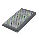 [ Thumbnail: Green & Purple Stripes; Squares, Diamonds, Circles Trifold Wallet ]