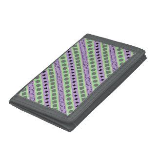 Green & Purple Stripes; Squares, Diamonds, Circles Trifold Wallet