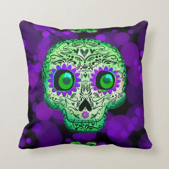 Green & Purple Sugar Skull Glowing Halloween Throw Pillow