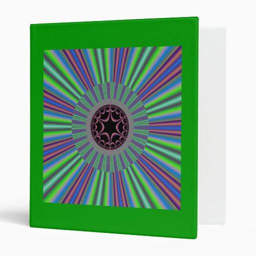Green Purple Sunburst Fractal 3 Ring Binder