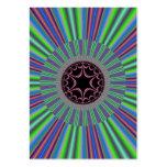 Green Purple Sunburst Fractal Business Card