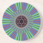 Green Purple Sunburst Fractal Coaster
