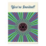 "Green Purple Sunburst Fractal 5"" X 7"" Invitation Card"