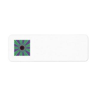 Green Purple Sunburst Fractal Label