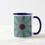 Green Purple Sunburst Fractal Mug