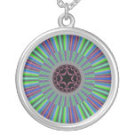 Green Purple Sunburst Fractal Custom Jewelry