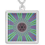 Green Purple Sunburst Fractal Custom Necklace