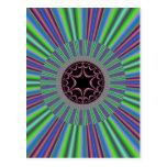 Green Purple Sunburst Fractal Post Card