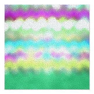 Green Purple Teal Ikat Chevron Zigzag Card