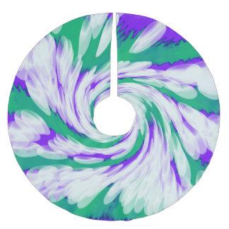 Green Purple Tie Dye Swirl Brushed Polyester Tree Skirt