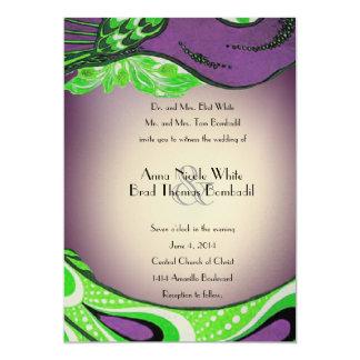 Green Purple Vintage Peacock Wedding Invitation