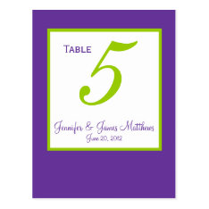 Green Purple Wedding Table Number Cards at Zazzle