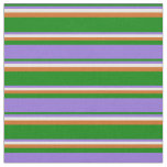 [ Thumbnail: Green, Purple, White & Chocolate Colored Pattern Fabric ]