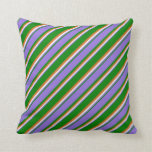 [ Thumbnail: Green, Purple, White & Chocolate Colored Pattern Throw Pillow ]