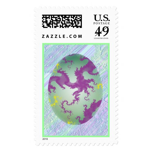 Green Purple & Yellow Painted Egg Postage