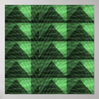 GREEN PYRAMIC TRIANGLE ART - Lights n Shades ART Poster