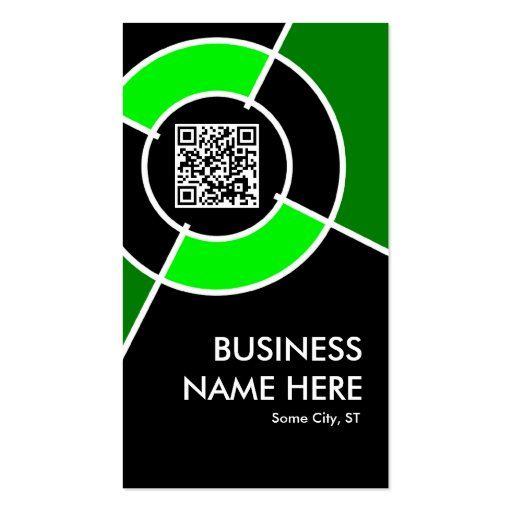 green QR code and logo target Business Cards