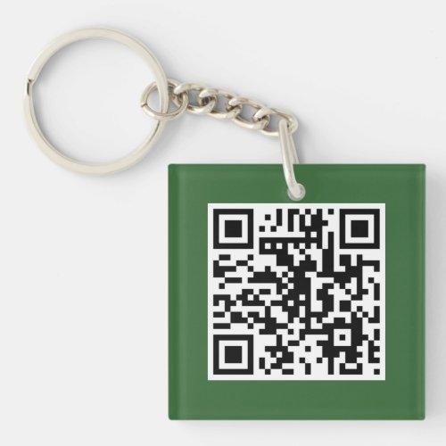 Green QR CODE Custom Key Chain