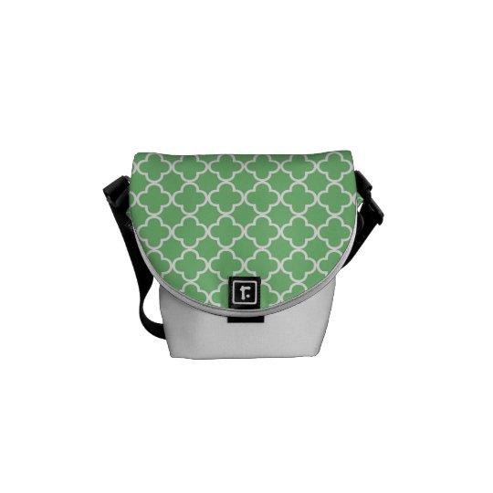 Green Quatrefoil Clover Pattern Messenger Bag