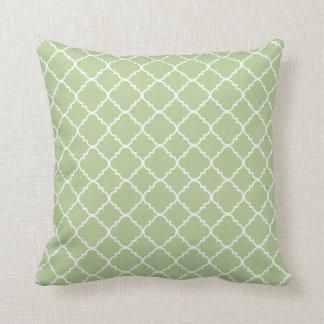 Green Quatrefoil Clover Pillows