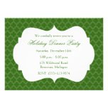 Green Quatrefoil Holiday Party Invitation