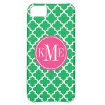 Green Quatrefoil Pattern | Pink Monogram Case For iPhone 5C