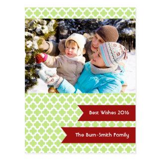 Green Quatrefoil Photo Holiday Postcard