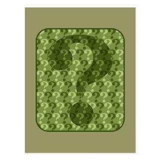 Green Question Marks Postcard