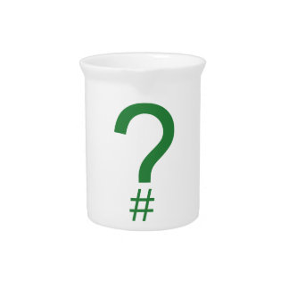Green Question Tag/Hash Mark Beverage Pitcher