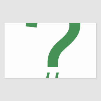 Green Question Tag/Hash Mark Rectangular Sticker