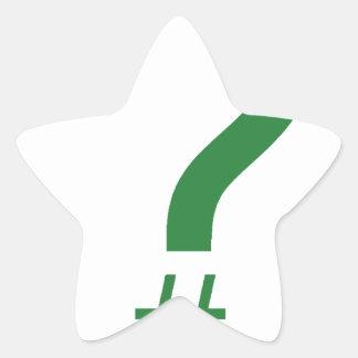 Green Question Tag/Hash Mark Star Sticker
