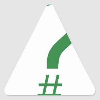 Green Question Tag/Hash Mark Triangle Sticker
