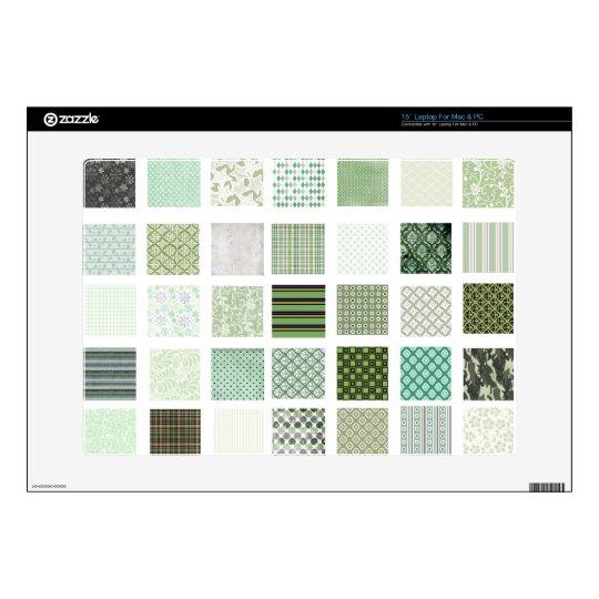 """Green quilt mosaic pattern 15"""" laptop skin"""