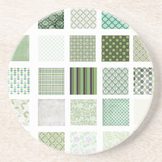 Green quilt mosaic pattern drink coasters