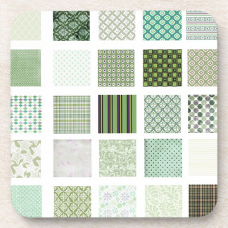 Green quilt mosaic pattern coasters