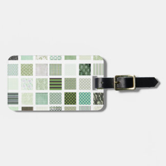 Green quilt mosaic pattern luggage tag