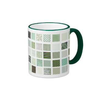 Green quilt mosaic pattern mugs