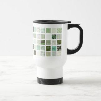 Green quilt mosaic pattern coffee mugs