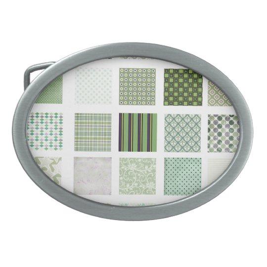 Green quilt mosaic pattern oval belt buckle
