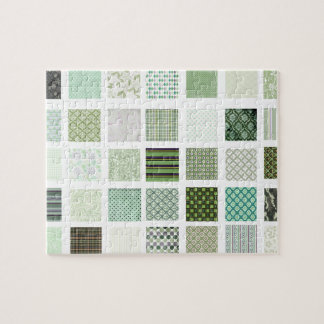 Green quilt mosaic pattern puzzles