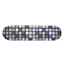 Green quilt mosaic pattern skateboard deck