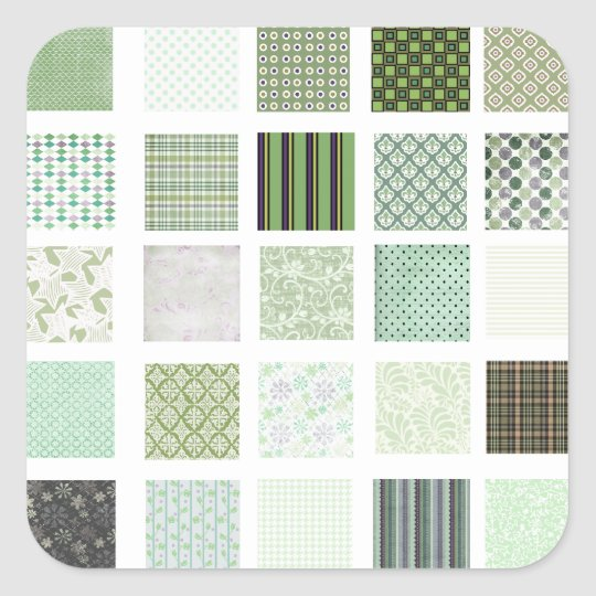 Green quilt mosaic pattern square sticker