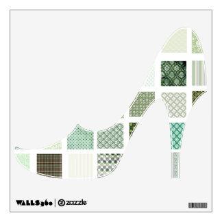 Green Quilt pattern high heeled shoe wall decal