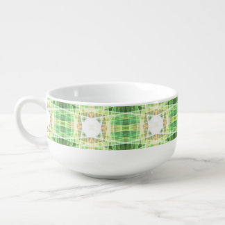 Green quilt pattern soup bowl with handle