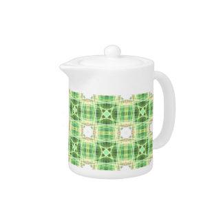 Green quilt pattern teapot