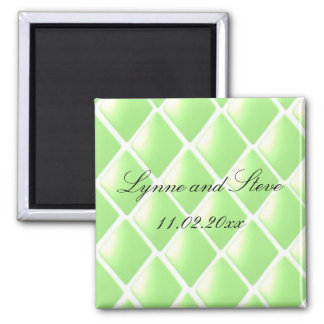 Green Quilted Diamond Save the Date Magnet