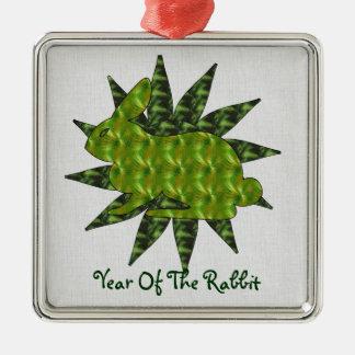 Green Rabbit Metal Ornament