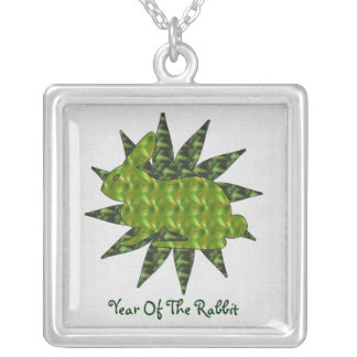 Green Rabbit Square Pendant Necklace