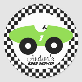 Green Race Car Baby Shower Classic Round Sticker
